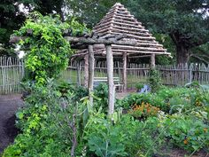 twig fence and gazebo