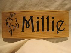 "130x300x12mm 5 1/4x12x1/2"" Wooden Oak Horse Stable Sign / Plaque  with Motif. By Signaroo"