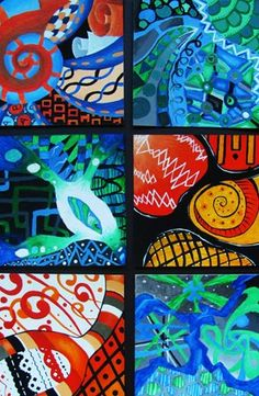 Zentangle Paintings - Acrylic Paint - Group Display / Conway High School Art Project
