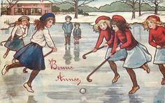 girls play field hockey on ice