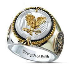 Handcrafted ring features St. Michael on a genuine legal tender silver crown and cross designs inspired by ancient coins. 24K-gold plating. Gift box.