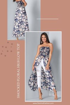 😍 NAVY MULTI SMOCKED FLORAL HIGH LOW TOP ✂️ ON SALE 👌 Take to your vacay with our lovely Smocked Floral High Low Top, a picturesque hybrid between a crop tube top and a chic maxi dress! #Fashion #StreetStyle #Casual #casualstyle #summertime #springfashion #outfit #womenswear #womensclothing #clothing #clothes #shoppingonline #chic