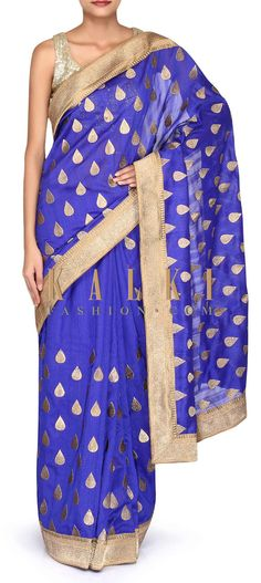 Royal blue saree featuring in faux silk. Its enhanced in weave embroidery along with zari border. Blouse is unstitched in blue. Royal Blue Saree, Indian Fashion, Women's Fashion, Woman Clothing, Saris, Weave, Free Shipping, Silk, Clothes For Women