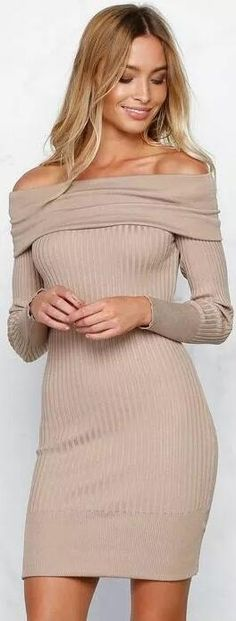 a8a272aa74 Off Shoulder Bodycon Knitting Sweater Dress
