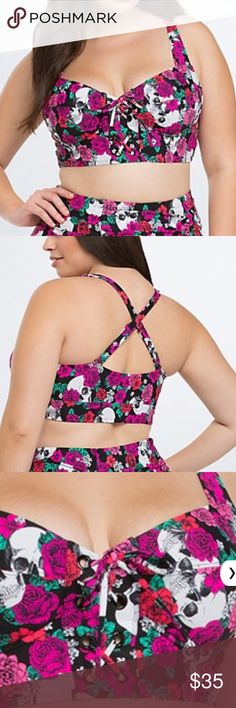 Torrid floral skull bikini top size 1 = 1X Torrid brand bikini top NWT. When I moved I must have lost the string used to lace up the front of the bikini top. It can be worn without the string. Last pic show missing string. Price reflects torrid Swim Bikinis