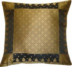 Indian Brocade - Black and Gold - Pillow