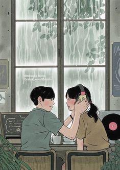 Heart-Warming Illustrations Depict The Romantic Moments Of A. Heart-Warming Illustrations Depict The Romantic Moments Of A Happy Couple. Cartoon Kunst, Anime Kunst, Cartoon Art, Anime Art, Manga Anime, Cute Couple Drawings, Cute Couple Art, Cute Drawings, Art And Illustration