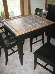 Tiled Inset Rectangular Kitchen Table
