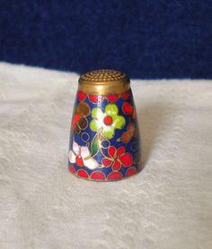 Vintage Thimble Cloisonne Enamel Flowers Design by heresthething, $8.99