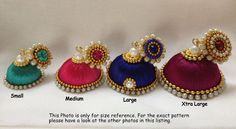 Colors & size  available dangling silk thread jhumkas by CozMHappy