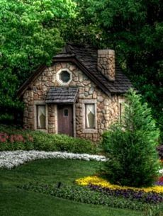 Tiny stone house - perfection! I would have to rid myself of so many things that seem to be weighing me down instead of buoying my spirits. But, do you think I would immediately begin constructing an addition on the back???