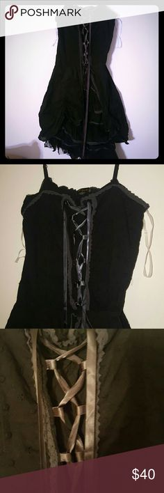 Steampunk ruffle dress Ruffle lace corset dress  Worn once, wrinkled from storing. Does have a small hole last pic. Looks good with a tulle skirt inder it.  Goth Punk  Gothic  Hot topic  Lacey Halloween Hot Topic Dresses