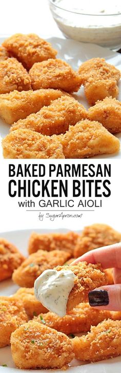 Baked Parmesan Chicken Bites with Garlic Aioli is part of Baked chicken parmesan - These Baked Parmesan Chicken Bites are so delicious and ridiculously easy With only 5 ingredients, how can you not try these bad boys out ! Think Food, I Love Food, Good Food, Yummy Food, Tasty, Weight Watcher Desserts, Chicken Bites, Baked Chicken, Chicken Tenders