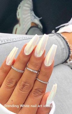 46 Best Nail Art Ideas For Your Hands page acrylic nails designs; acrylic na coffin nails : 46 Best Nail Art Ideas For Your Hands page acrylic nails designs; acrylic na coffin nails Long White Nails, White Acrylic Nails, Almond Acrylic Nails, Best Acrylic Nails, Summer Acrylic Nails, Long Nails, Marble Nails, Summer Nails, Acrylic Tips