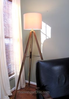 Wood Surveyor's Tripod Floor Lamp - Scavenger Chic