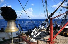 Bell on the bow of the four masted barque Sedov, Funchal 500 Race 2008, Madeira Coast, Atlantic Ocean