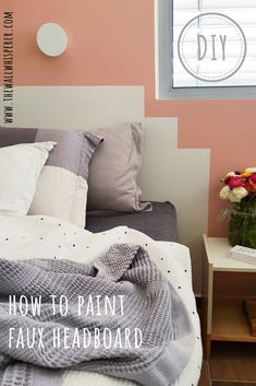 "Simple DIY ""how to"" tutorial for a cheap white headboard over a pink accent bedroom wall. Decor Style Home Decor Style Decor Tips Maintenance Faux Headboard, How To Make Headboard, White Headboard, Headboard Ideas, Diy Interior, Interior Design Living Room, Living Room Designs, Decorating Your Home, Diy Home Decor"