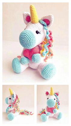 Crochet Unicorn Pattern Free, Crochet Amigurumi Free Patterns, Crochet Animal Patterns, Crochet Dolls, Crochet Baby, Crochet Animal Hats, Unicorn Doll, Crochet Gifts, Crochet Projects