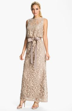 Free shipping and returns on Tadashi Shoji Lace Overlay Blouson Gown at Nordstrom.com. A classic grosgrain ribbon cinches the waist of a bateau-neck lace gown featuring an elegant illusion-yoke blouson bodice.