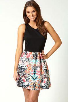 Shelly Printed Skirt Skater Dress