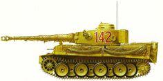 """Варианты окраски танка PzKpfw """"Тигр"""" (Tiger) (SdKfz 181) Ausf E, в зависимости от место дислокации действующей части. 1-Я РОТА 504-ГО ТЯЖЕЛОГО ТАНКОВОГО БАТАЛЬОНА, ВЕСНА 1943 Г. Изображенный здесь «Тигр» применялся в Тунисе, хотя светло-зеленая окраска говорит о том, что прибыл он в Африку ближе к концу противостояния на данном театре военных действий. Танк оснащен воздушными фильтрами Файфеля."""
