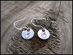 Hand Stamped Sterling Silver Dangle Earrings - Apple, Teacher, Gift