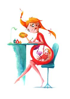 Happy Mothers Day Discover What to Expect When Youre Expecting Showcase and discover creative work on the worlds leading online platform for creative industries. Cute Illustration, Character Illustration, Pregnancy Art, Pregnancy Cartoon, Birth Art, Art With Meaning, Cool Art Drawings, Whimsical Art, Anime Art Girl