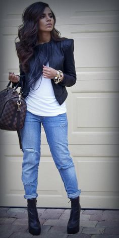 Outfit : boyfriend jeans, pointed shoulder leather jacket, and boots. I love the bracelets