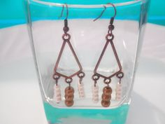 Antiqued Copper Dangle Earrings with Pearl by SisterCraftings, $4.99