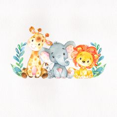 baby animals This safari animals themed baby shower sticker features a cute elephant, giraffe and lion on a scanned watercolor paper image background. The design also features a some deco Baby Shower Decorations For Boys, Baby Shower Invitations For Boys, Safari Animals, Baby Animals, Safari Baby Shower Cake, Baby Animal Drawings, Baby Shower Sash, Baby Shower Welcome Sign, Watercolor Paper