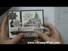 Stair Step Card video.  Download photo step-by-step at:  http://ustamp4fun.com/christmas-lodge...  Stair Step Card step-by-step with Stampin' Up! sets and accessories. Featuring the Christmas Lodge set.