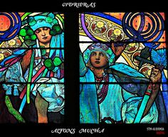 Vidrieras+Art+Nouveau+(I).  Stained glass after Alphonse Mucha in a Prague cathedral.  I' ll frame the photo!