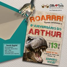 Convite Festa Tiranossauro Rex Dinossauro Vintage para imprimir