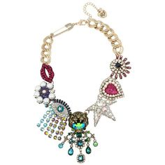 Betsey Johnson Mystic Baroque Drama Necklace ($225) ❤ liked on Polyvore featuring jewelry, necklaces, multi, flower statement necklaces, evil eye charm, colorful necklaces, lobster clasp charms and safety pin necklace