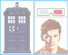 The Doctor and Tardis Phone/Electronics Case Cross Stitch Sewing Pattern PDF Cross Stitch Embroidery, Cross Stitch Patterns, Doctor Who Craft, Stitch Character, Famous Portraits, Cross Stitch Freebies, Cross Stitch Boards, 10th Doctor, Plastic Canvas Patterns
