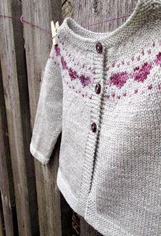 Little Hearts Knitting pattern by Stitched in Sweden, Little Hearts is a simple baby cardigan that features a sweet colorwork heart yoke detail.This tiny cardigan is a perfect gift for a new baby and can . Baby Knitting Patterns, Love Knitting, Baby Sweater Patterns, Baby Cardigan Knitting Pattern, Knit Baby Sweaters, Knitting For Kids, Girls Sweaters, Baby Knits, Simple Knitting