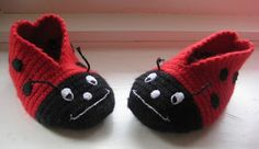 Ladybird slippers with embroidered details.  Design by Swannyjo (no pattern)