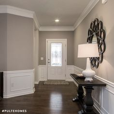 Wall color is Sherwin Williams Mindful Gray. crown molding and wainscott