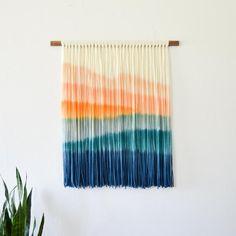 Macrame Bracelet Patterns, Yarn Wall Hanging, Wall Hangings, Sunset Art, Fiber Art, Boho Decor, Tapestry Weaving, Loom Weaving, Wall Decorations