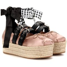 ad0ce70017b1 Miu Miu Satin and Leather Platform Ballerinas ( 795) ❤ liked on Polyvore  featuring shoes · Pink Ballet ...