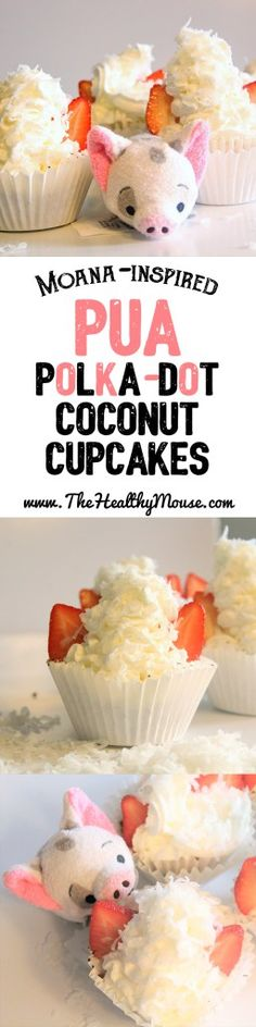 Inspired by Disney's Moana: Pua Polka dot Coconut cupcakes! They are gluten-free, dairy-free, and refined sugar-free! // vegan cupcakes // vegan baking // vegan dessert // gluten free cupcakes // gluten free baking // gluten free dessert // sugar free cupcakes // sugar free baking // sugar free dessert // coconut cupcakes // pua // moana // moana recipe // moana cupcake // pua cupcakes // moana party