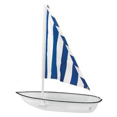 Buffet Enhancements Jumbo Seafood Sailboat, White, with White Fabric Sail - Pro Restaurant Equipment