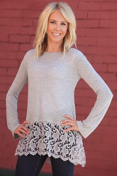Lace Trim Long Sleeve Top Gray