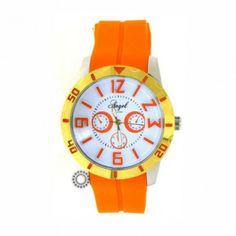 Γυναικείο μοντέρνο sport quartz ρολόι ANGEL με λευκό καντράν, δίχρωμη κάσα & πορτοκαλί καουτσούκ | Ρολόγια ANGEL στο κατάστημα ΤΣΑΛΔΑΡΗΣ Χαλάνδρι #angel #πορτοκαλι #σιλικονη #γυναικειο #ρολοι Black Friday, Bracelet Watch, Watches, Accessories, Watch, Clocks, Clock, Ornament
