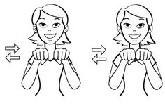 """How to say """"SHOE"""" in sign language: Put your hands in two fists and tap them back and forth. Sign Language Book, Simple Sign Language, Sign Language Alphabet, American Sign Language, Libra, Baby Asl, Asl Signs, Hearing Impaired, Educational Websites"""