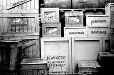 Black and white photograph, wall art, black and white, still life print, original, fine art print, monochrome - Wooden packing crates