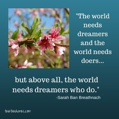 We need more dreamers who do. Favorite Sarah Ban Breathnach quote.
