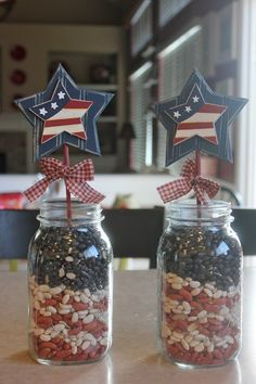Achieving Creative Order: Patriotic Mantel I love the use of dried beans and jars for these inexpensive decorations.