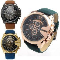Casual PU Leather Band Analog Round Dial V6 Mens Quartz Wrist Watch Gift