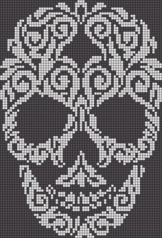 Alpha friendship bracelet pattern added by skull swirl filligree abstract. skull cross stitch or crochet chart türk - The Crocheting Place Picture outcome for cranium crochet diagram a knit and crochet community Zuckerschädel x-Stich , Filet Crochet Charts, Crochet Diagram, Knitting Charts, Cross Stitch Charts, Cross Stitch Patterns, Filet Pattern Crochet, C2c Crochet Blanket, Tapestry Crochet Patterns, Crocheted Blankets